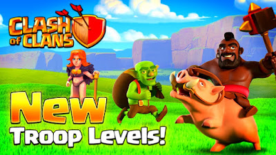 Update Throop Pasukan COC Golem Level 6, Hog Level 7, Barbarian King dan Archer Quen Level 45