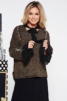 Pulover SunShine khaki casual cu croi larg din material tricotat catifelat