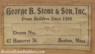 George B. Stone & Son Master-Model Drum Label