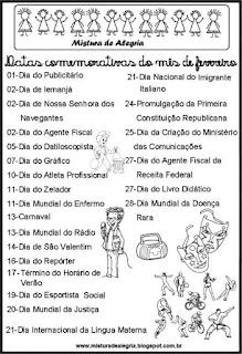 Datas comemorativas mês fevereiro
