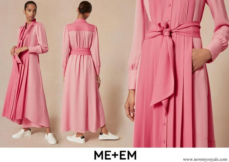 Kate Middleton wore Me + Em colour block silk shirt dress in bubblegum pink