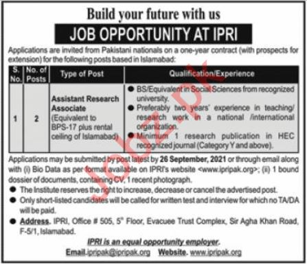 Jobs in Islamabad Policy Research Institute