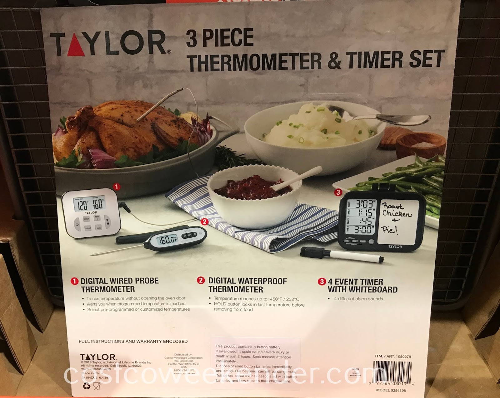 Costco 1050279 - Taylor 3-piece Thermometer and Timer Set: great for any home cook