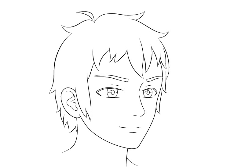 Anime laki-laki wajah 3/4 tampilan gambar garis