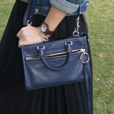black maxi skirt, Rebecca Minkoff Micro Bedford zip satchel in twilight | awayfromtheblue