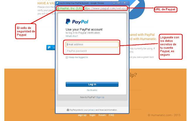 Registrarse en humanatic usando datos de Paypal