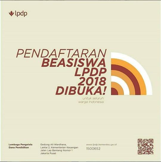 Pendaftaran Beasiswa LPDP 2018 Telah Dibuka