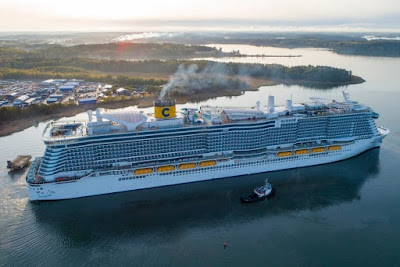 Costa Cruises' New Costa Smeralda departs Meyer Wefrt Turku Finland on Sea Trials