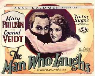 El hombre que ríe 1928, foto cromo publicitario de la época