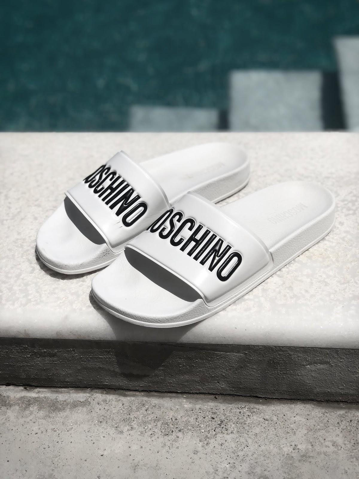 mens street style Greece Moschino slides