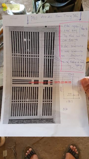 Hình vẽ cửa sắt chung cư giao xuống xưởng sản xuất