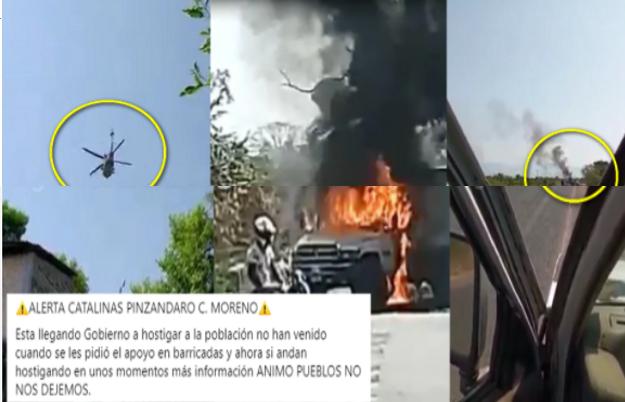 Viagras chillonas disparan a helicóptero artillado, capturaron a uno de sus jefes y quemaron vehículos para bloquear caminos en Michoacán