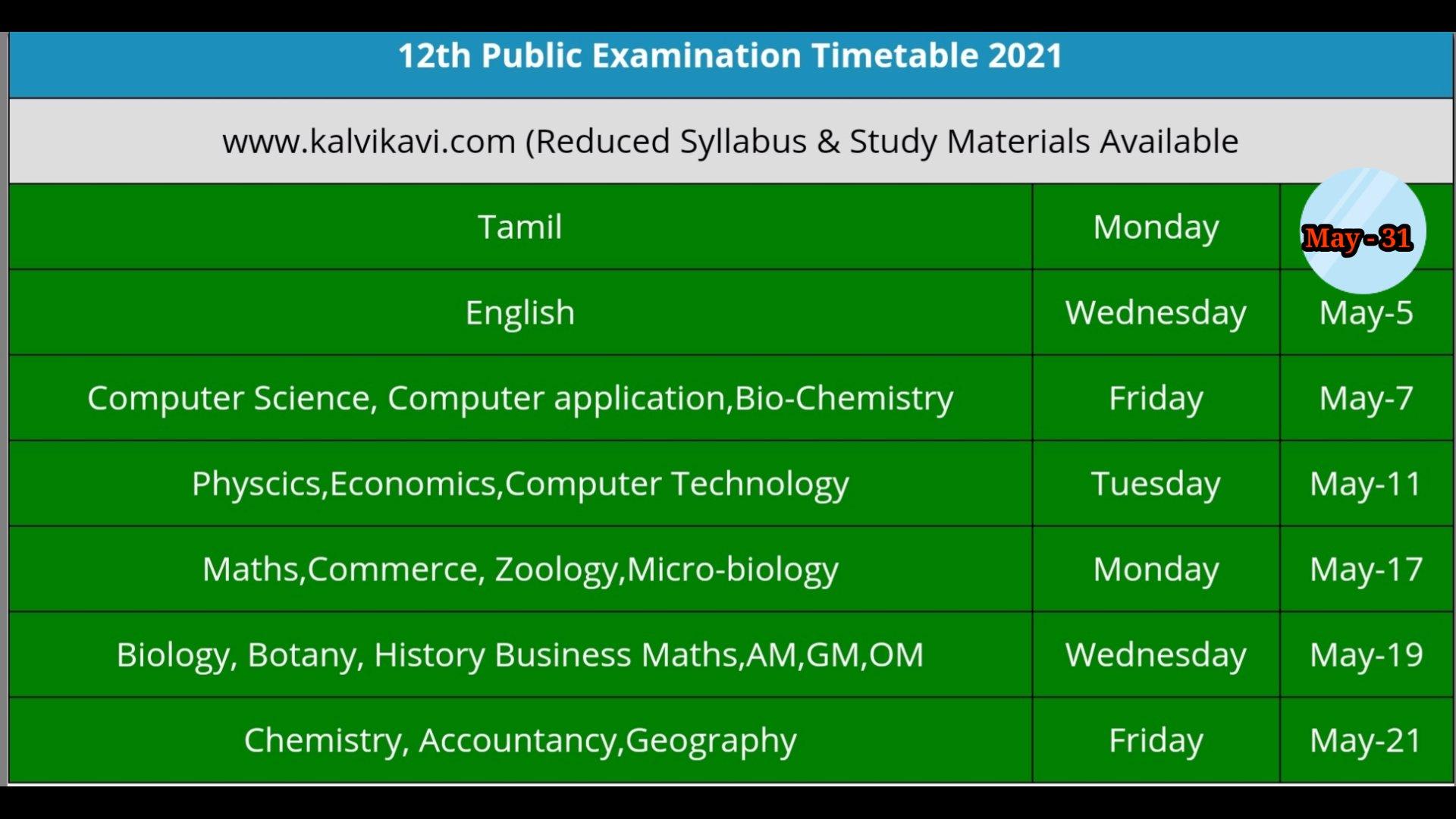 12th Public Exam Time Table 2021 - Tamilnadu