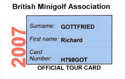 British Minigolf Association membership card 2007