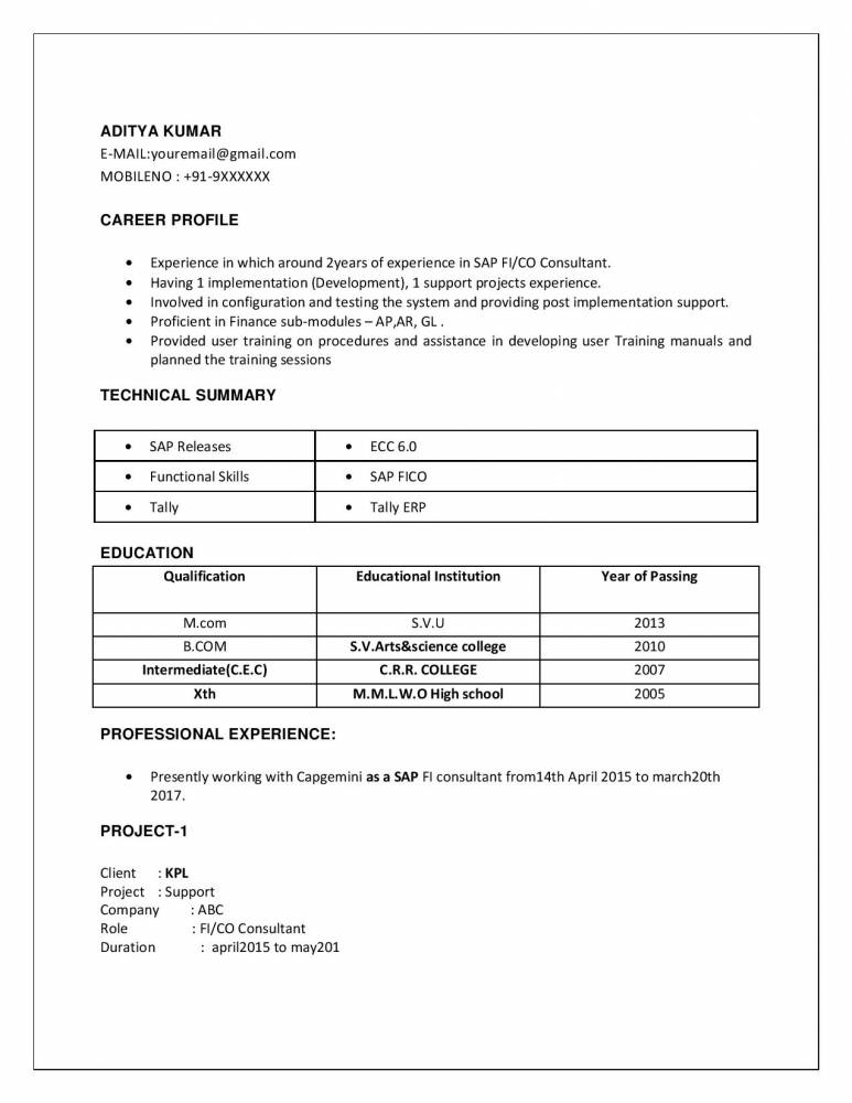 sample resume for sap abap 1 year of experience - sap fico 2 years experience resumes download resume