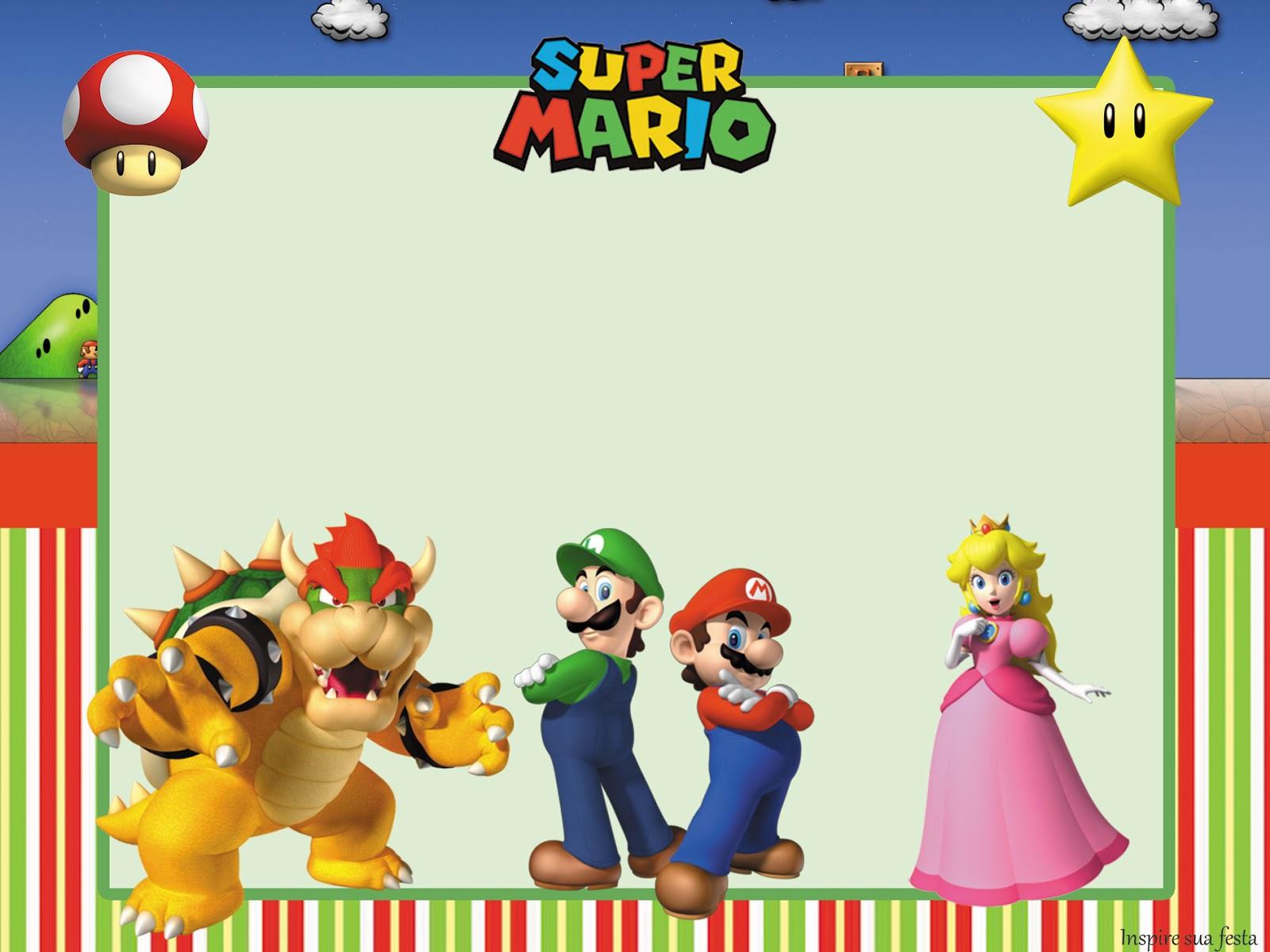 Fiesta De Super Mario Bros Invitaciones Para Imprimir