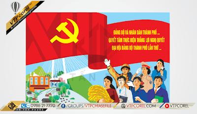 Pano trang trí Đại hội Đảng bộ toàn quốc lần thứ XIII