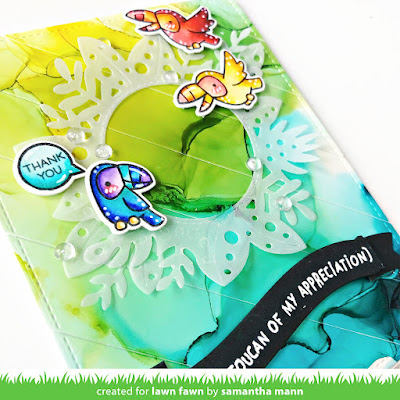 A Toucan of My Appreciation Card by Samantha Mann for Lawn Fawn, Fawny Summer Inspiration, Alcohol Inks, Card Making, Handmade Cards, Die Cutting, #lawnfawn #cardmaking #handmadecards #alcoholinks #fawnysummerinspiration