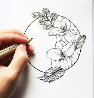 Sketsa Bunga Menggunakan Pensil
