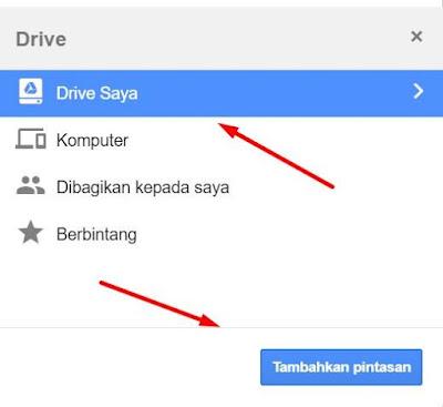 Menambah Pintasan Ke Google Drive
