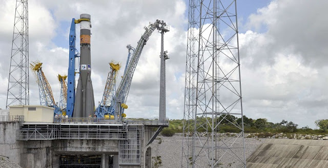 Archive photo of a Soyuz launcher at the launch pad in Kourou. Credit: AP Photo/Henri Griffit