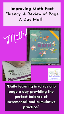 """Text: Improving Math Fact Fluency: A Review of Page A Day Math; """"daily learning involves one page a day providing the perfect balance of incremental and cumulative practice""""; image of book cover and math questions"""