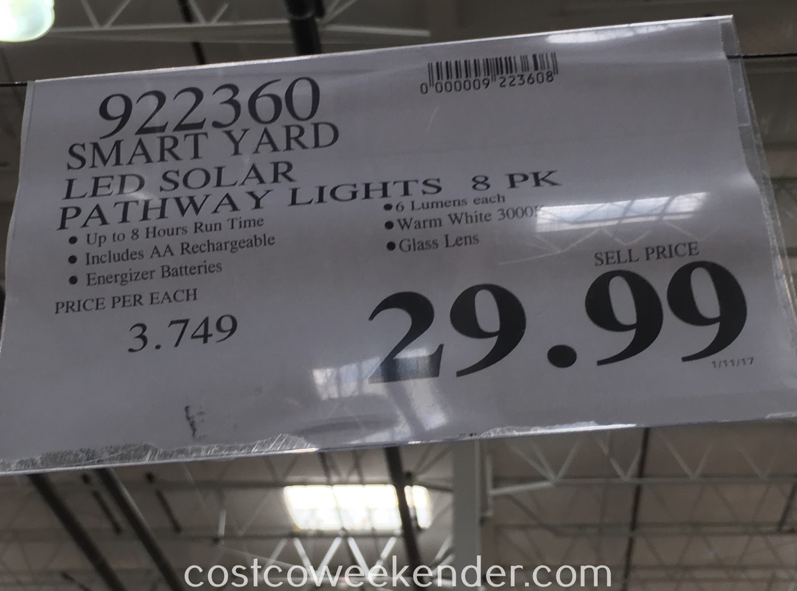 Deal for an 8 pack of SmartYard LED Solar Pathway Lights at Costco