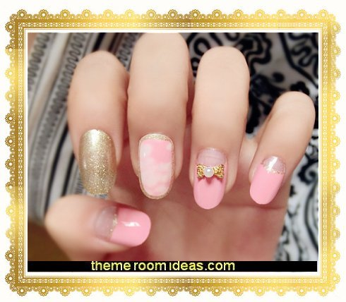 24Pcs Marble Fake Nails Gold Bowknot Pink Glitter Square Artificial Nail Tips with Glue Sticker for Wedding