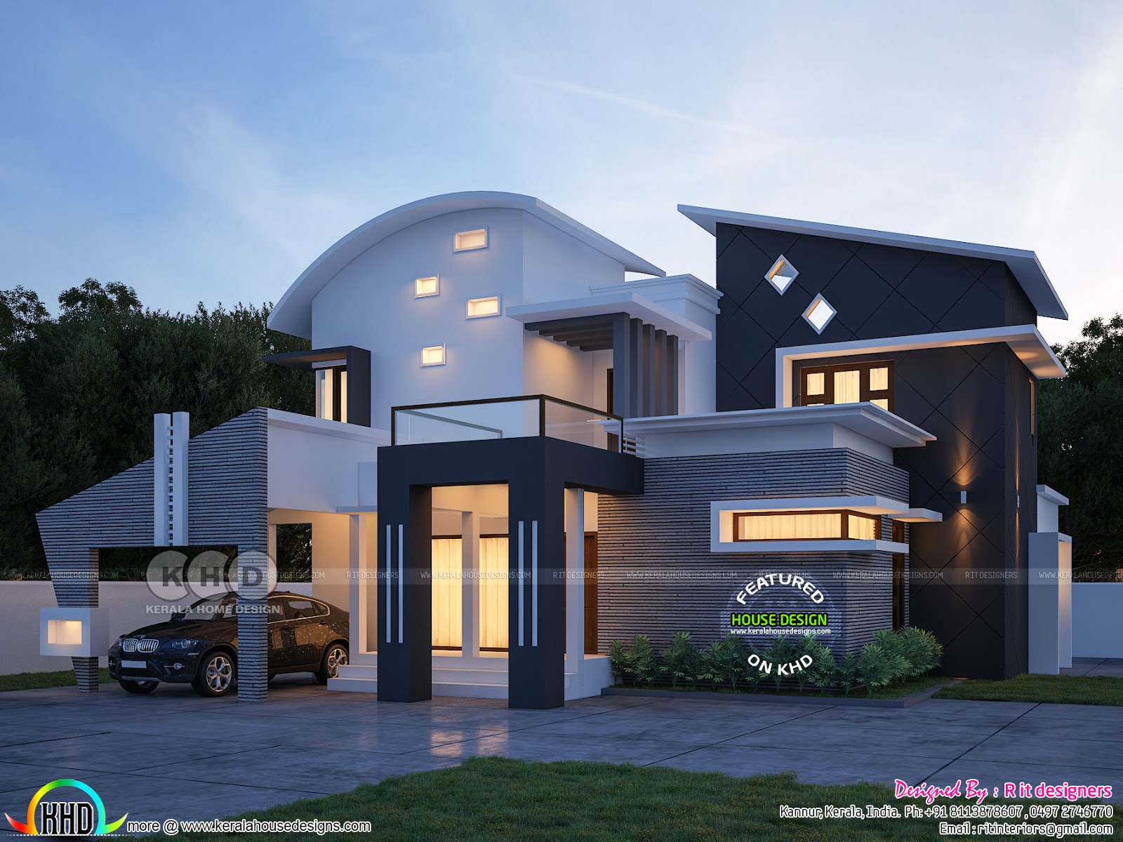 contemporary-residence-kannur-kerala Curved Roof House Design Kerala Home on modern garage with shed roof, house plans with gable roof, slate gray metal roof, ranch style house with hip roof, house with balcony roof, house plans with sloping roof, house with pool on roof, garage exterior design with metal roof, house with green metal roof, build a cupola roof, home roof, modern house roof,
