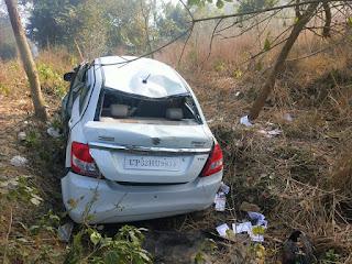 बाराबंकी : अनियंत्रित कार पेड़ से टकराकर खाई में गिरी, एक कि मौत दो घायल