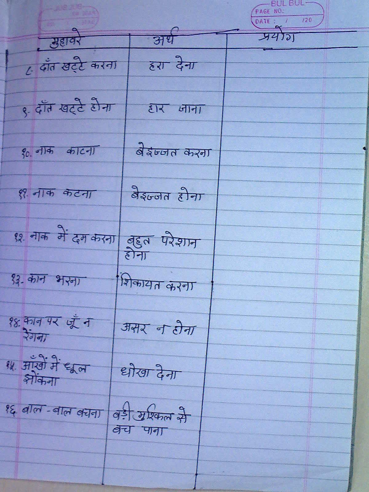 Stars Of Pis Ahmedabad Std Iv Hindi Notes Muhavare