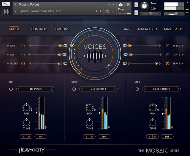 Interface da Library Heavyocity - Mosaic Voices (KONTAKT)