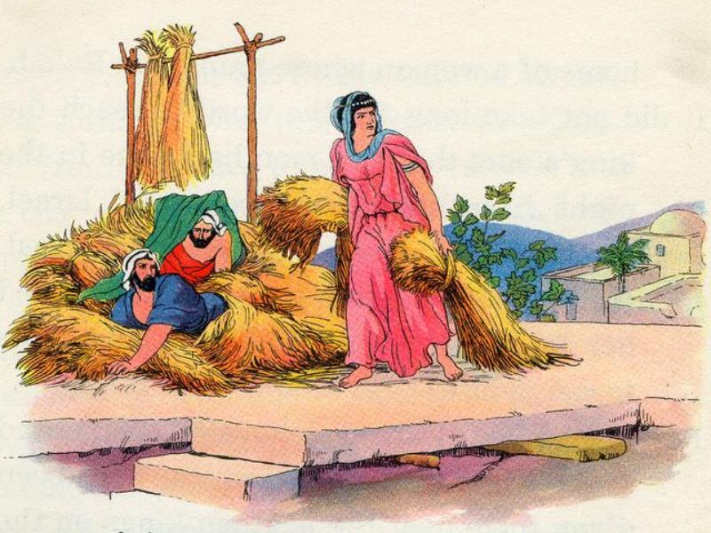 When word arrived that soldiers were hunting the two men, Rahab hid them on the roof of her house under bundles of flax.