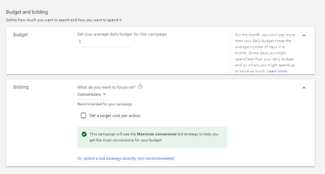 Set Budget and Conversions or Click or CPC in Google Ad