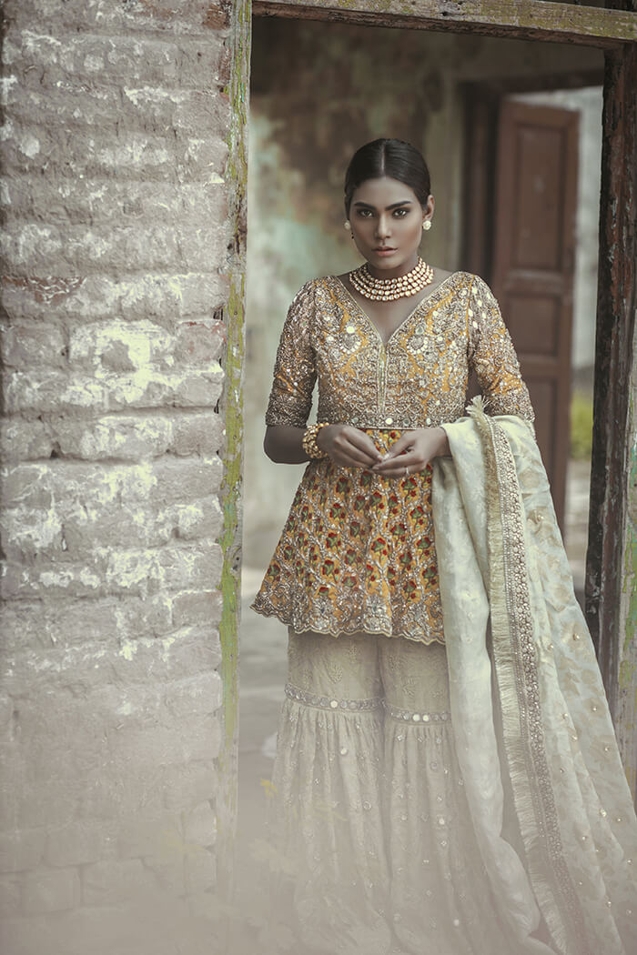 Mehndi Bridal Sharara with Peplum