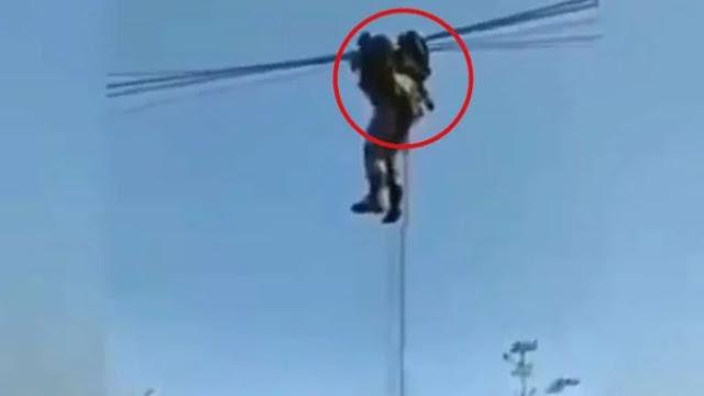 Heboh Prajurit TNI Tersangkut di Kabel Listrik, Ternyata Kopassus