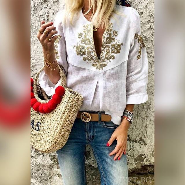 Μακρυμάνικο άσπρο γυναικείο πουκάμισο NAOMI