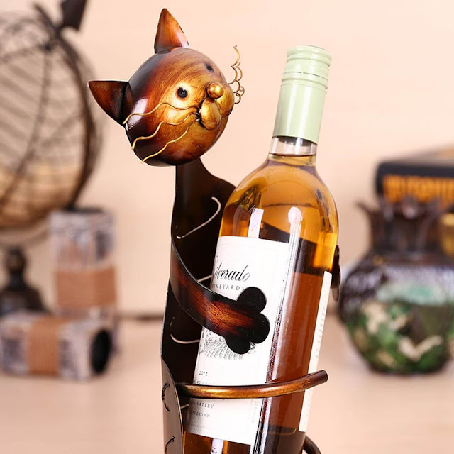 Cat Shaped Wine Holder Wine Rack shelf Metal Sculpture Found On Amazon By Barbies Beauty Bits