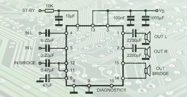 : TDA7377 Stereo/Bridge Audio amplifier circuit diagram ...