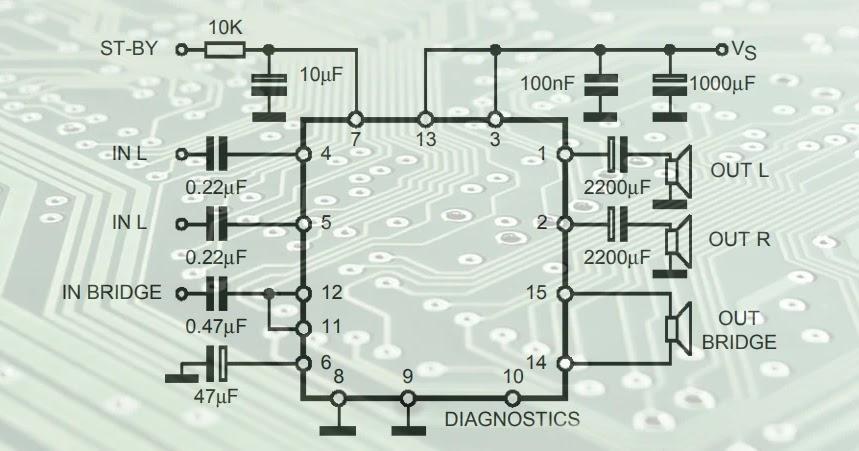 : TDA7377 Stereo/Bridge Audio amplifier circuit diagram