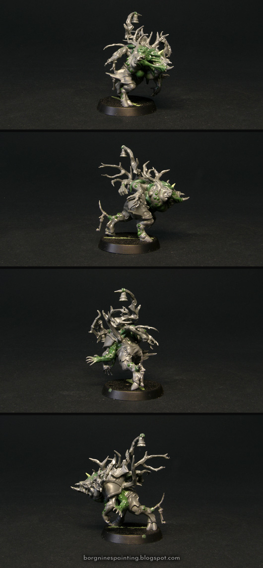 Converted tabletop miniature of Bulla Shardhorn, the Nurgle Blood Bowl Star Player. The kitbash is based on a Nurgle Pestigor from the 'Nurgle's Rotters' GW box, with both of his heads, two extra arms and branches sticking out of his body. All the bits are held together by greenstuff sculpted to look like mutated and distorted flesh. The model is shown from several angles.