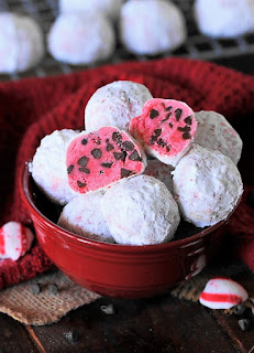 Peppermint Chocolate Chip Snowball Cookies Image