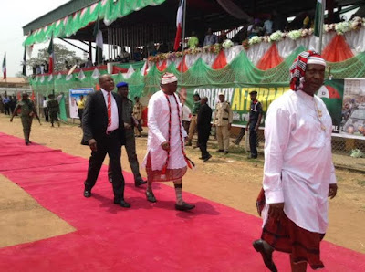 Fayose wears igbo clothes to Okezie Ikpeazu thanksgiving in Abia state