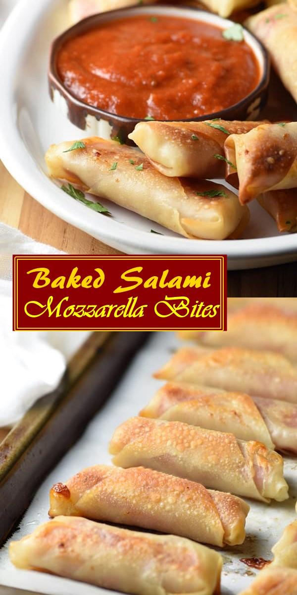 Baked Salami Mozzarella Bites #appetizerrecipes