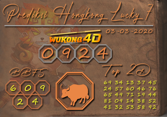 Prediksi Togel HONGKONG LUCKY 7 WUKONG4D 03 MARET 2020