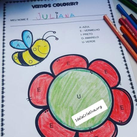 Atividade Vogais para Educação Infantil com Pintura Legendada