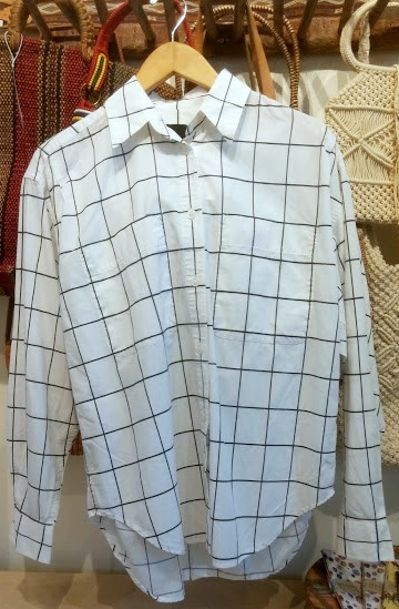 vintage grid pattern shirt from thrift shopping