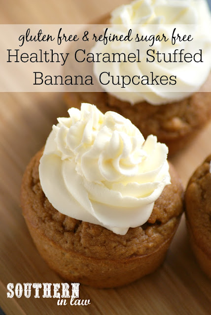 Healthy Caramel Stuffed Banana Cupcakes Recipe | low fat, gluten free, healthy, sugar free, high protein, clean eating friendly, low carb