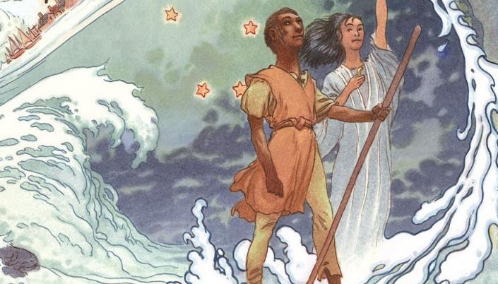 Imagem: ilustração que mostra um jovem negro com um bastão ao lado de uma figura esguia e de cabelos negros e pele branca em um manto azul claro erguendo o braço e uma enorme onda quebrando em torno deles, assim como pequenas estrelas.