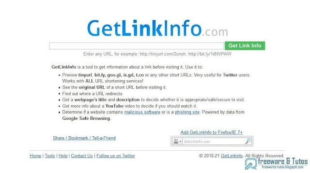 GetLinkInfo : un outil pratique pour vérifier l'adresse complète d'un lien raccourci sans avoir à l'ouvrir